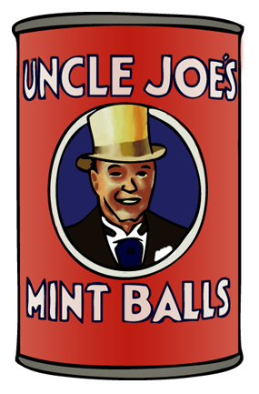 The only known photograph of the author, as seen on a tin of Uncle Joe's Mint Balls