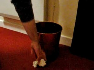 Thowing paper into bin