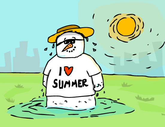 Snowman in summer vector art