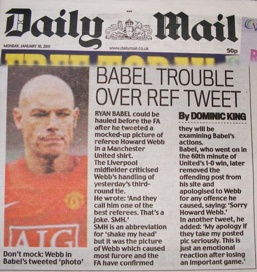 Howard Webb Daily Mail Ryan Babel Twitter