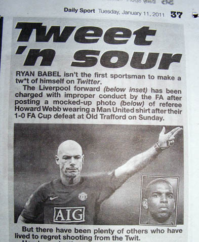Howard Webb Daily Sport Ryan Babel Twitter