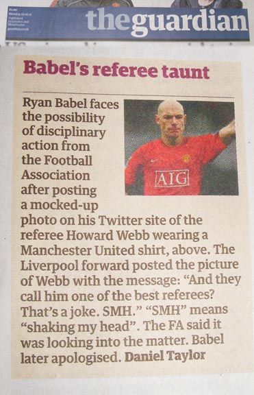 Howard Webb Guardian Ryan Babel Twitter