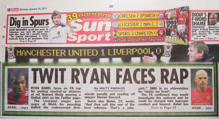 Sun Sport Ryan Babel Twitter Howard Webb