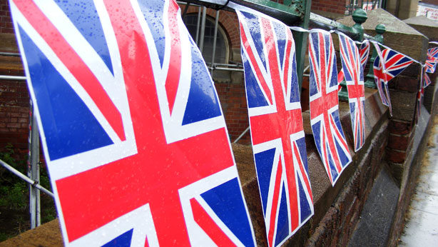 Hindley Olympic Torch Relay GB flags